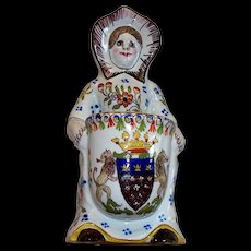 """Antique French Faience """" Mont St. Michel """"  Armorial /Lions  Girl Holding Basket"""