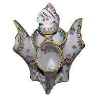 Antique French Faience Cornucopia Vase by Fourmaintraux Freres