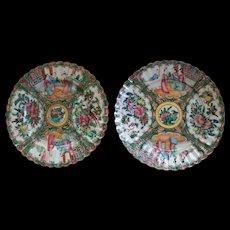 Antique Chinese Export Rose Famille Medallion Fluted 2 Plates  19th cent.