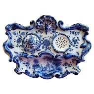 Rare Antique Dutch Rococo Tin Glaze Faience Inkwell by A. Luffen Artist of Rotterdam, Holland..  circa 1700