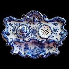 Rare Antique Dutch Rococo Tin Glaze Faience Inkwell by A. Luffen Artist of Rotterdam, Holland..  circa 1700