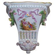 "Antique Dresden ""Watteau"" Porcelain Wall Shelf Bracket of Lovers w Bird Cage"