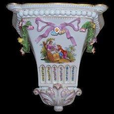 """Antique Dresden """"Watteau"""" Porcelain Wall Shelf Bracket of Lovers w Bird Cage"""