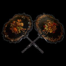Pair of Antique English Papier Mache Lacquer Fans with Mother -of- Pearl circa 1860