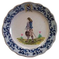 Antique French Faience  'Malicorne'  Paulard Beatrix  Plate 10""