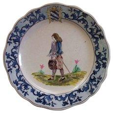 "Antique French Faience  'Malicorne'  Paulard Beatrix  Plate 10"""