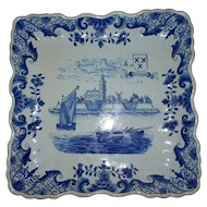 "Antique French Faience  "" Arras ""  Deep Fluted Tray of Church & Boats... circa 1790"
