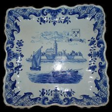 """Antique French Faience  """" Arras """"  Deep Fluted Tray of Church & Boats... circa 1790"""