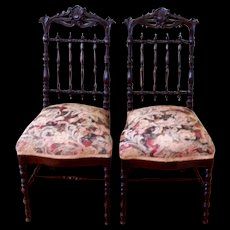 Antique Pair of French Rosewood Chairs circa 1880s