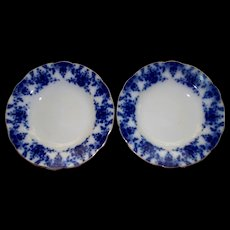 "Antique Pair of  Ridgway "" Osbourne "" Flow-Blue Plates  9""  circa 1905"