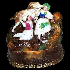 Charming   Large  Antique  Staffordshire Box  Boy & Girl & Goat   circa 1890s