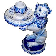 "Antique Holland Delft  "" De Oude Moriann's Hooft "" = ""The Moor's Head""  Lion Candlestick   circa 1700"
