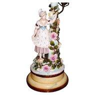 Antique Pair Dresden  Girl & Young Man  Lamps  circa 1890s