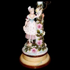 Antique Pair Dresden  Girl & Young Man  Lamps  circa 1890s
