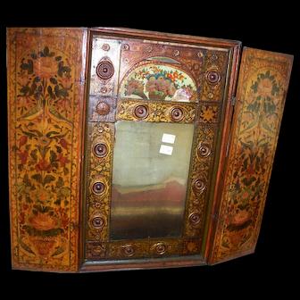 Antique  Italian  Mirror  with  Pairs  of  Love Birds  rare