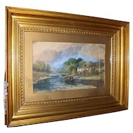 Antique English Watercolour Painting with Giltwood Gesso Frame by  E. Taylor  1780 -1830