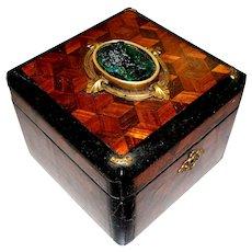 Antique French Parquetry Casket Box w/ Malachite Sculpture of Woman