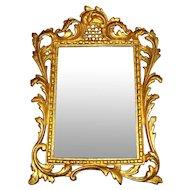 Antique Rococo Bronze & Beveled Glass Mirror