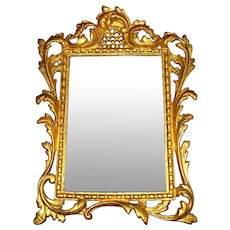 Antique Rococo Bronze & Beveled Glass Mirror