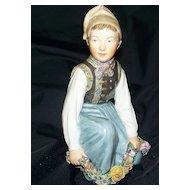 """Royal Copenhagen  """"Amager Boy"""" Figurine  Earliest Crown Mark of Juliane Marie !!"""