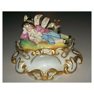 Antique Staffordshire Inkwell with Moriage  Dandy Boy & Wolf circa 1840