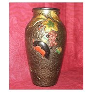Art Glass Vase of a Red-Breasted Crow Among Grapes