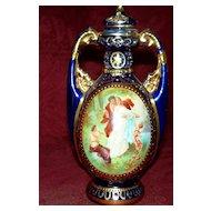 Antique Royal Vienna Potpourri Vase with Lovers