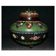 Large Antique Japanese Cloisonne with Metal Powder Accents   circa 1900