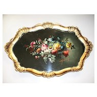 Vintage Papier Mache Wood Hand-Painted Rococo Tray