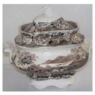 Antique Staffordshire Sugar Bowl  with Farmer & Horses!  ca. 1840