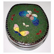 Antique Japanese Cloisonne  6 Butterflies Box