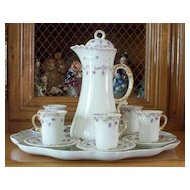 Antique Limoges Jean Pouyat  Rococo Chocolate Set    circa 1890