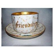 """Antique Old Paris Porcelain """"FRIENDSHIP"""" Large Cup & Saucer  C. 1850"""