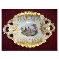 Old Paris Large  Rococo  Fluted Bowl  Artist Signed circa 1850