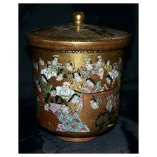Antique Exquisite Japanese Kutani Satsuma Covered Jar with 100 Men & Women  Meiji period