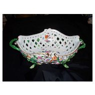 Antique Meissen Reticulated Basket w Applied Flowers & 12 Butterflies/Insects ca.1880