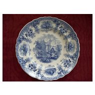 "Antique Staffordshire Historical Pearlware Plate ""Hannibal Crossing the Alps"" circa 1825"