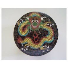 Chinese Cloisonne Covered Jar  3 Dragons circa 1910