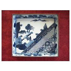 Japanese Chinese Imari -Style Square Dish  w/Bunny rabbits   8.5 x 1.5
