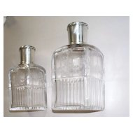 Lovely Antique French Sterling & Etched Crystal Perfume Bottles signed by Robert Linzeler
