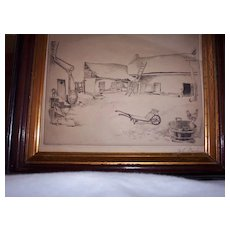 "Engraving Lithograph by John Barker  ""The Farm""  1929  Listed Artist"