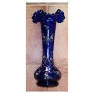 """Antique Cobalt Ruffled Enamelled Glass   14""""  Hand-Blown"""
