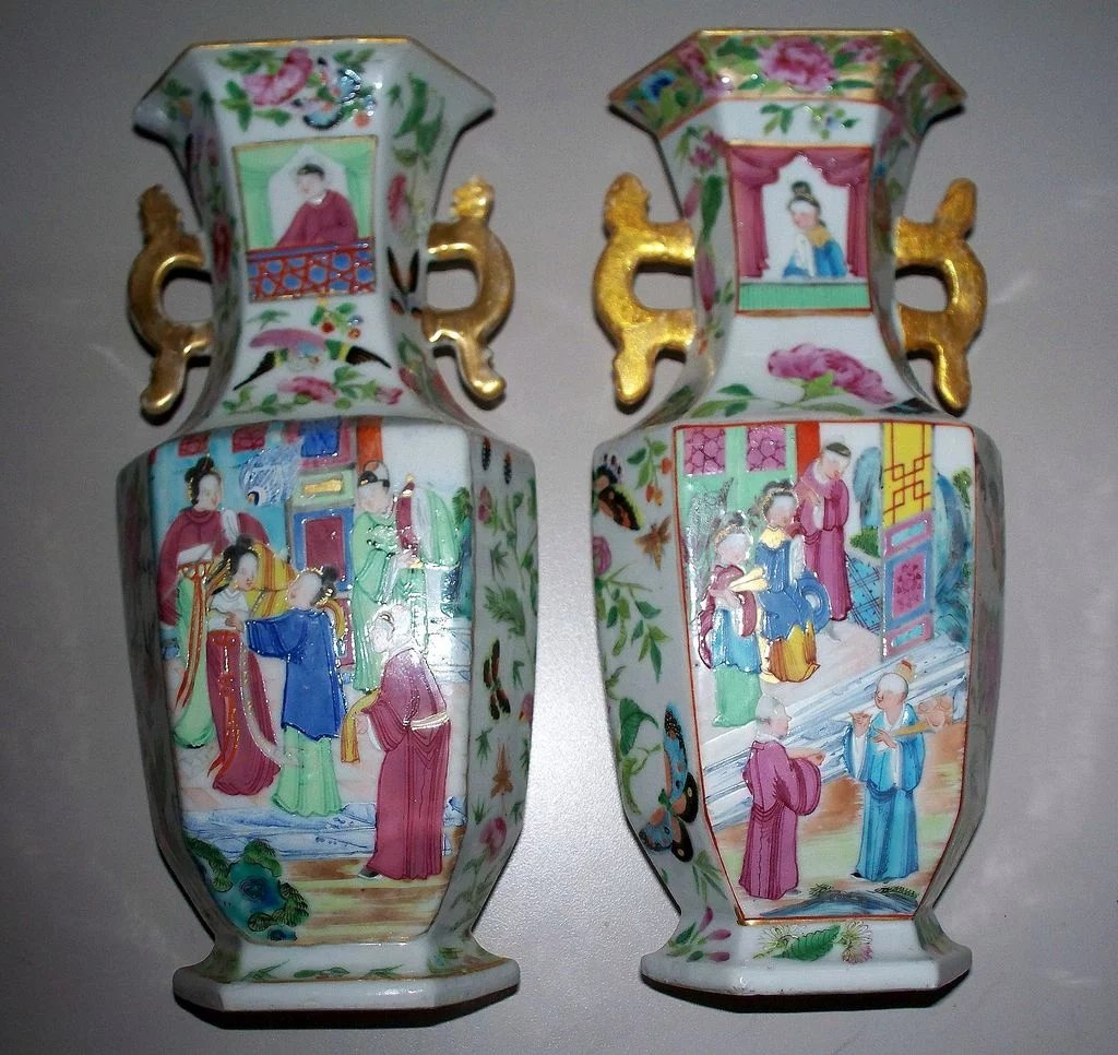 Reclaimed Wood Flooring Long Island Ny: Pair Of Antique Chinese Hexagon Daoguang Vases Circa 1850