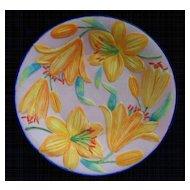 Antique Parian Sculptured  Lillies Plate