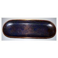 "Antique Chinese Cobalt- Blue Cloisonne  Tray     9"" X 3"""