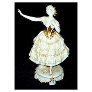 "Capodimonte Girl Figurine on Pedestal   circa 1900   10.4"" tall"
