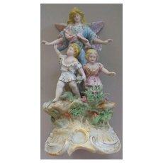 German Guarding Angel Watching over children porcelain figurine ca. 1900
