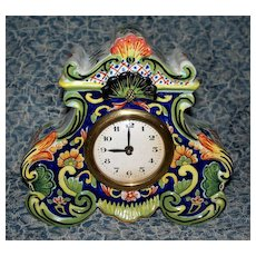 Antique French Faience Desvres Rococo Clock