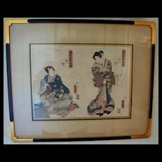 Pair of Antique Japanese Wood Block Prints Utagawa Kunisada Toyokuni 111
