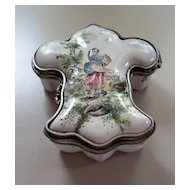 Antique French Faience Veuve Perrin  Fleur de Lis Box Pewter Mounts 18th cent